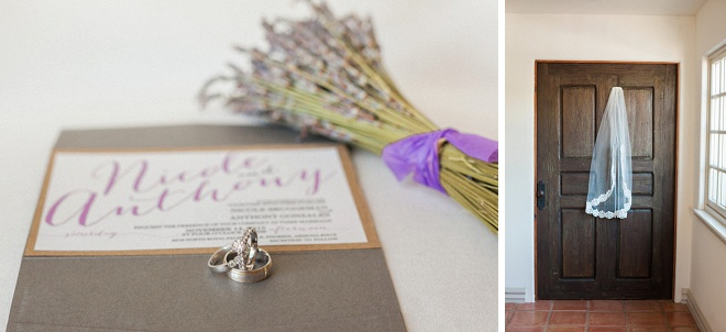 We're loving this gorgeous ring shot featuring their invitation and lavender detail!