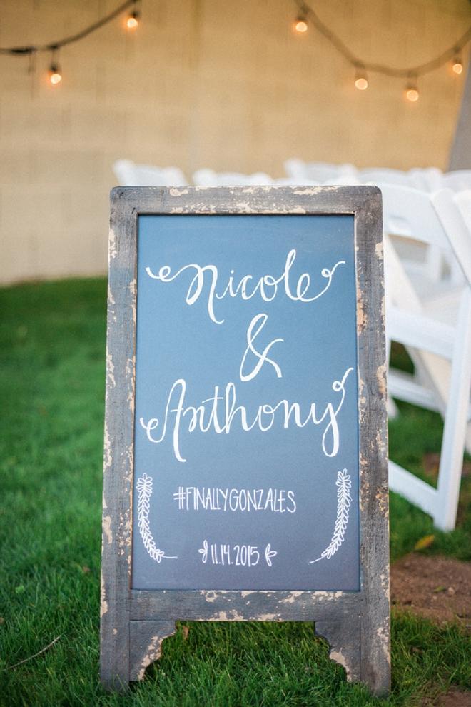 Loving the handlettered chalkboard wedding signs!