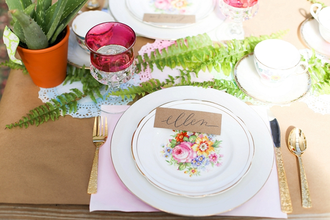 We LOVE these gorgeous place settings at this bridal shower!