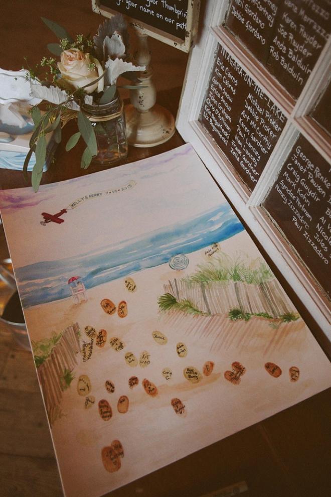 How fun is this thumbprint guest book beach idea? Loving it!
