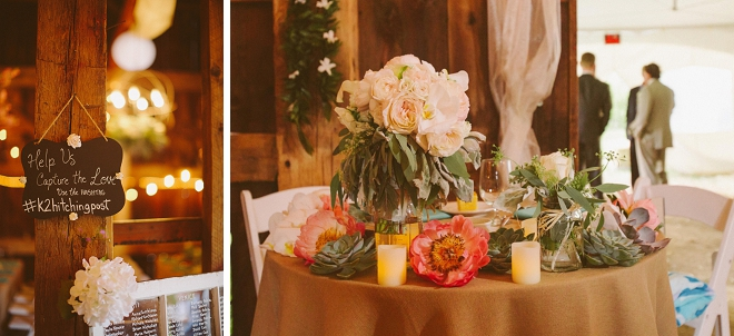We are swooning over this gorgeous New York barn recpetion and centerpieces! So gorgeous!