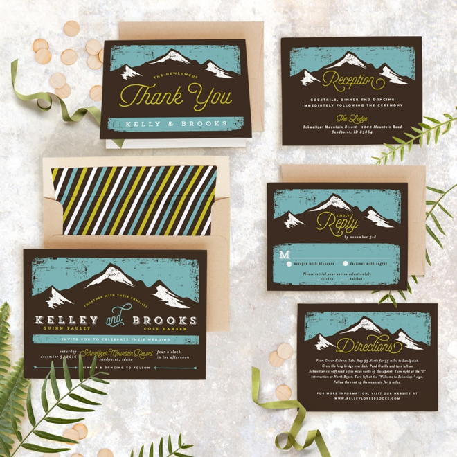 Mountain Marriage themed wedding invitation suite from Minted!