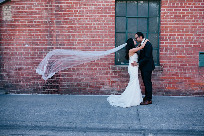 We're loving this gorgeous couple and this Bride's veil shots! So fun and glam!