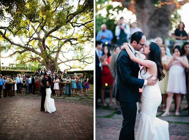 Loving this classic couples first dance at their gorgeous garden reception!