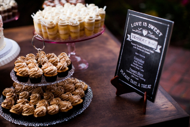 Loving this gorgeous dessert table at this garden DIY wedding reception!