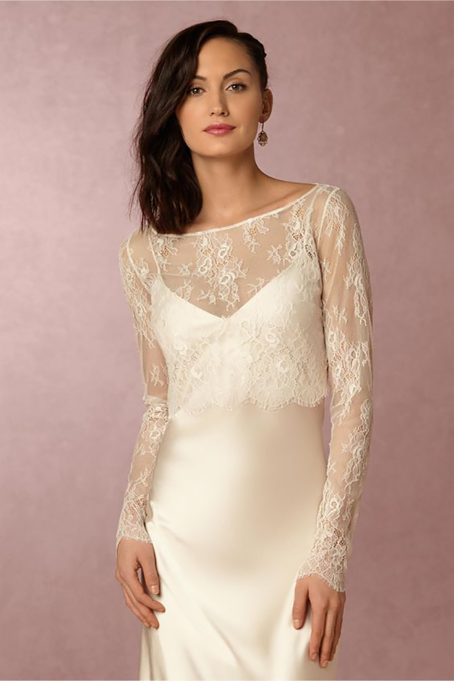 BHLDN Marlene Tooper dress with fabulous lace sleeves!