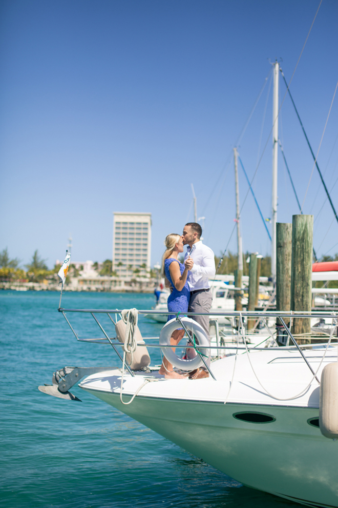 Super sweet engagement embrace on a boat by Eboni Robyn Photography
