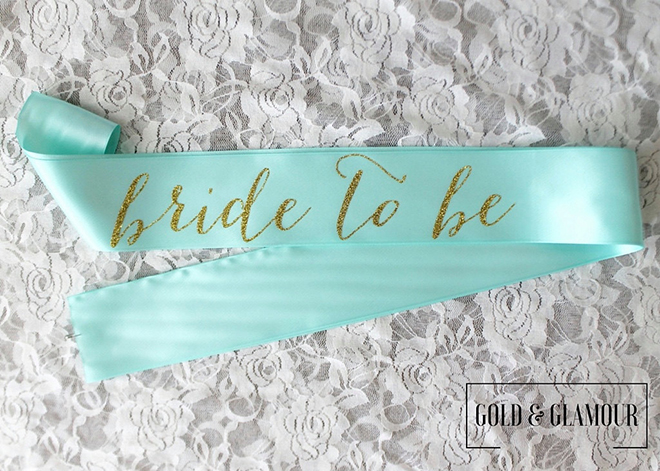 Aqua bride to be sash by Gold & Glamour on Etsy!