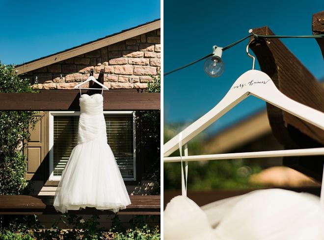 Loving the Bride's modern wedding dress and darling monogrammed hanger!