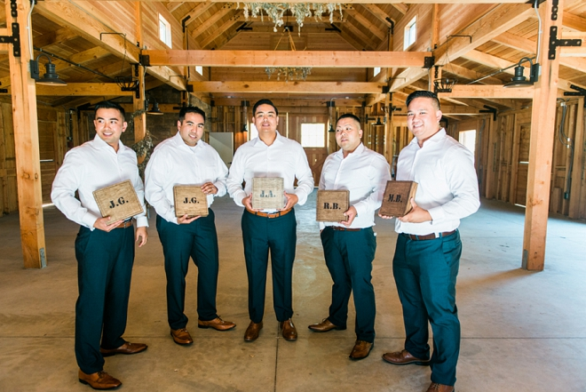Loving this photo of the Groom and Groomsmen with their DIY Groomsmen Gift Box!