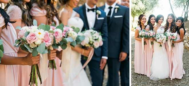 Swooning over this dreamy bridal party photo with the new Mr. and Mrs!