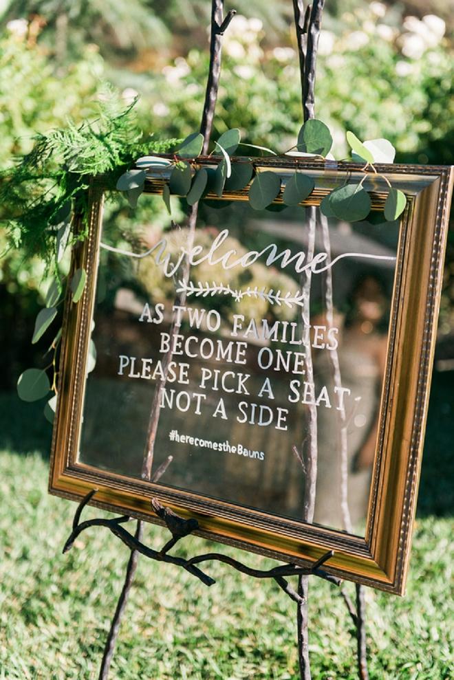 Loving this handlettered frame ceremony sign! Gorgeous!