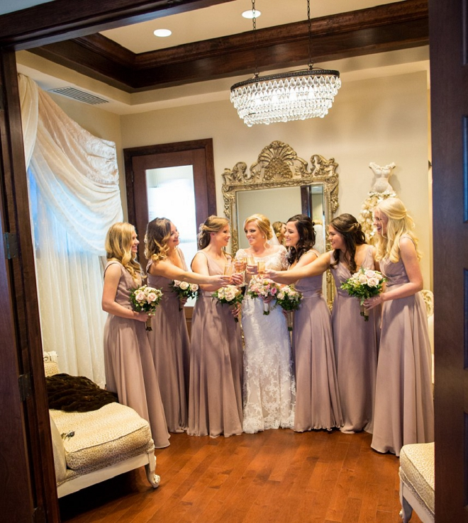 We're loving this shot of the Bride and her Bridesmaid's before the sweet ceremony!