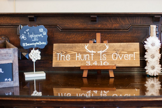 We're in love with this super fun hashtag and signage at this crafty country wedding!