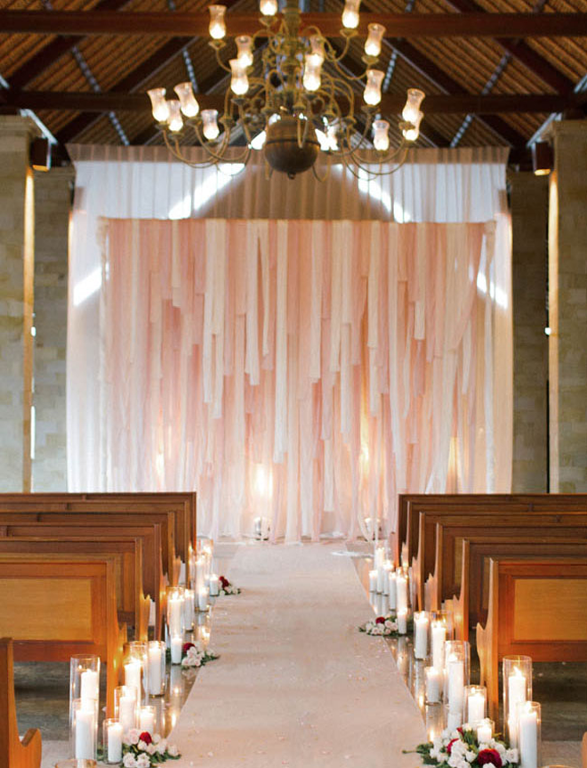 Dreamy blush indoor wedding ceremony backdrop you don't want to miss!