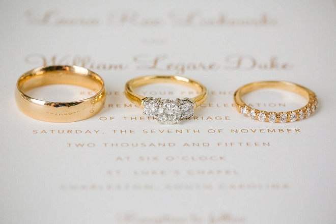 We love this Bride and Groom's wedding ring style!