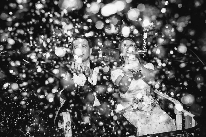 We LOVE this super fun confetti photo of the new Mr. and Mrs!