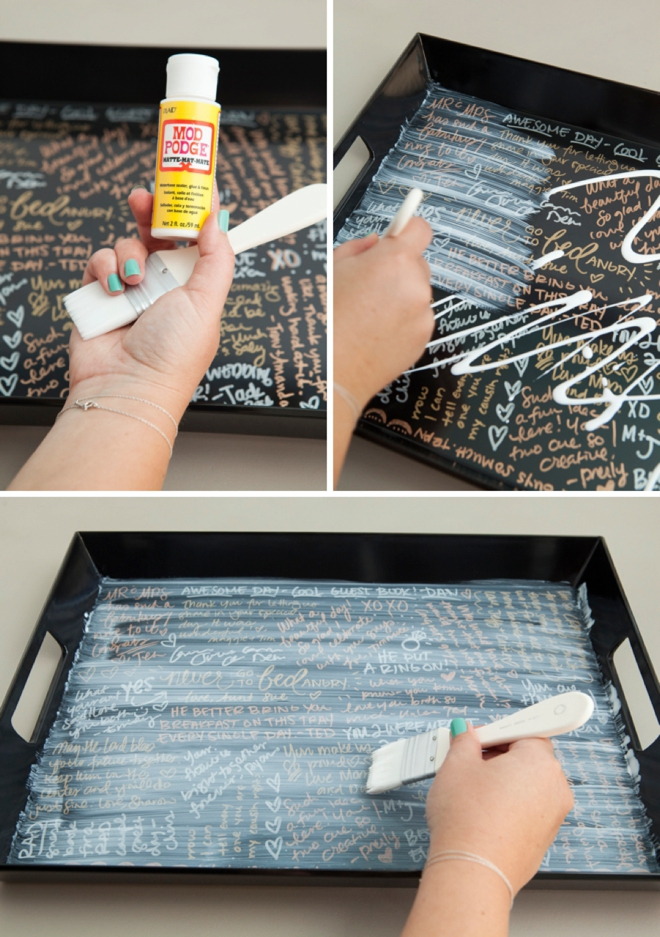 Check out this awesome DIY idea for a serving tray guest book!