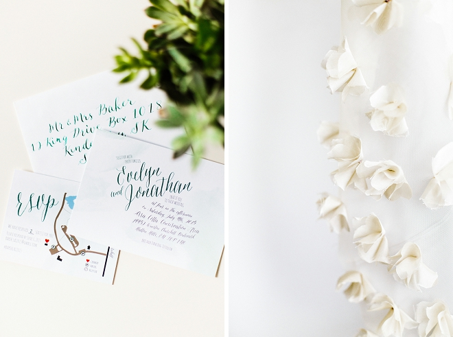 We're crushing on this Bride's gorgeous invite suite and handmade ceremony backdrop!