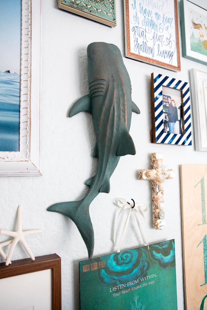 The shark above Jen's desk.