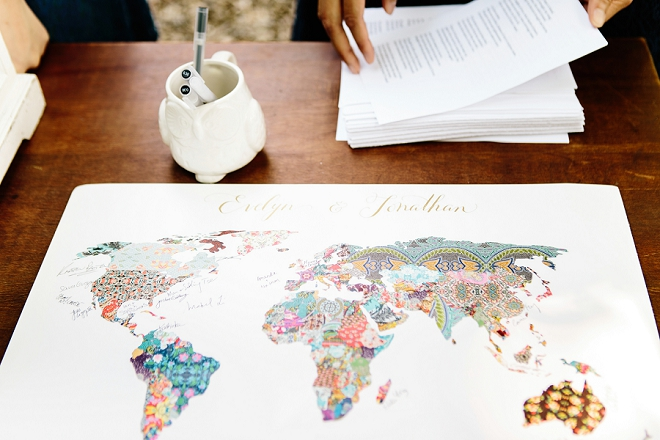 We're in LOVE with this couple's unique map guest book of the world!