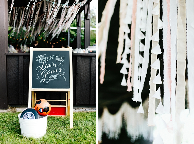 Loving this couple's fun outdoor lawn games idea at their relaxed outdoor reception!