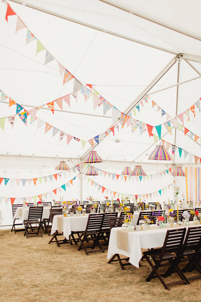 Add some whimsy and color to your tent with bunting flags