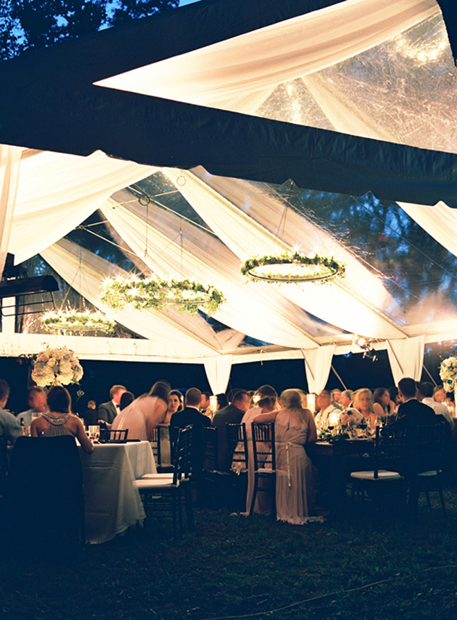 Fabric draped over a clear tent adds another dimension