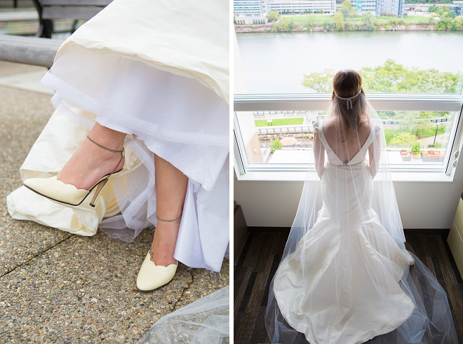 How cute are these retro wedding day shoes?!