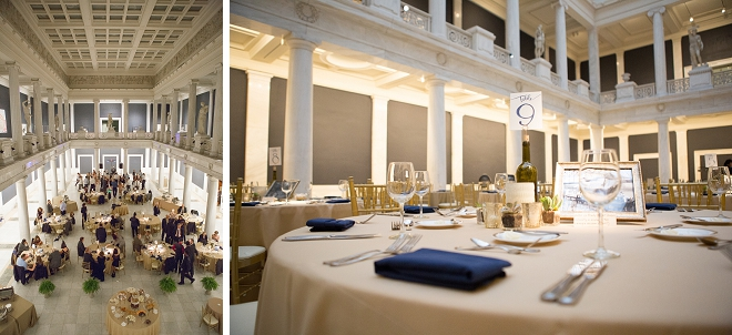 Loving the gold and navy details at this gorgeous art museum reception!
