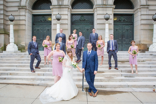 We're loving this gorgeous purple and navy bridal party at this museum wedding!