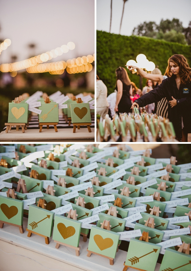 We're swooning over these gorgeous handmade escort cards at this gorgeous Palm Springs wedding!