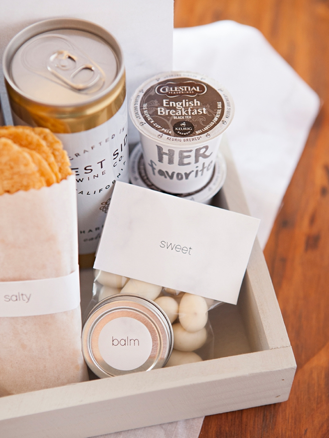 How to make the most darling modern wedding, hotel welcome gifts!