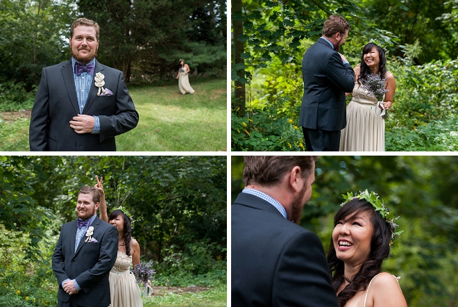 Loving this sweet and fun first look before their wedding ceremony!