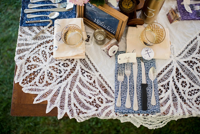 Crushing on this backyard wedding's table settings and handmade napkins by the Bride!
