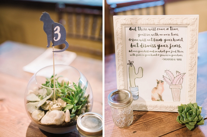 We're loving these fun cat table numbers and song lyric signs on each table!