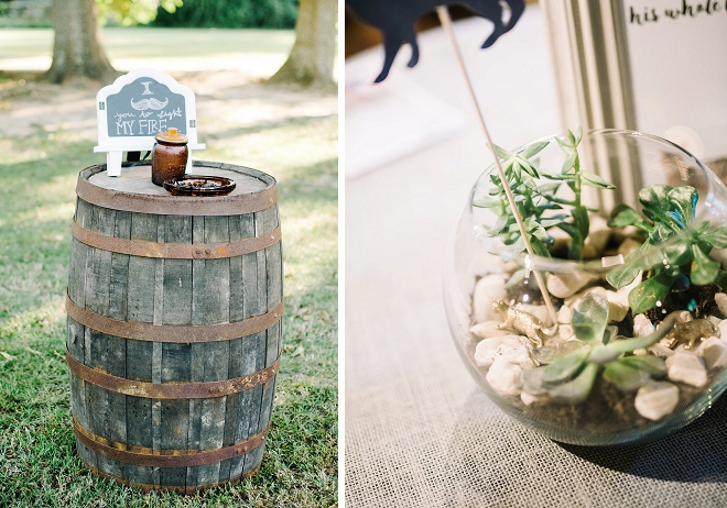 How great is this barrel cigar bar at this gorgeous boho outdoor reception!