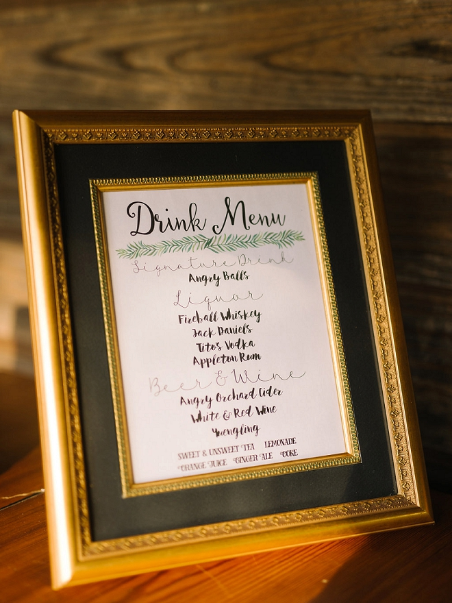 Loving the fun drink menu at this fun reception!
