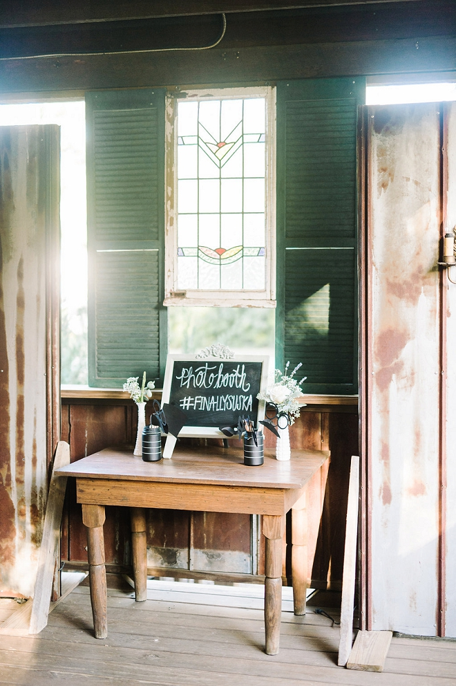 We're crushing on this fun photo booth at this boho-chic wedding!