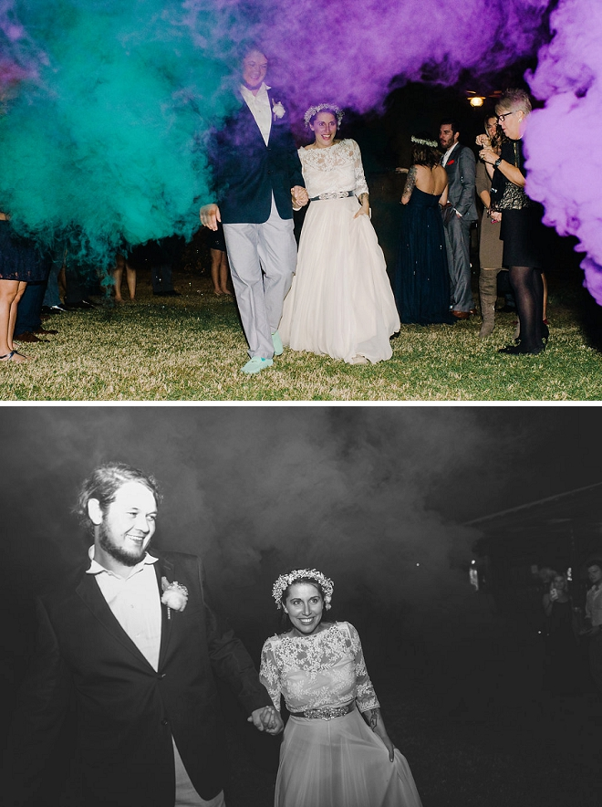 We love this fun and colorful exit at this boho chic wedding!