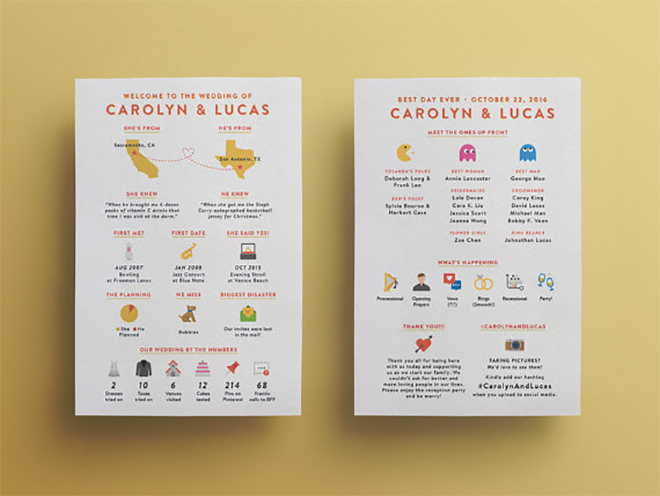 Darling info-graphic programs give guests something fun to look at