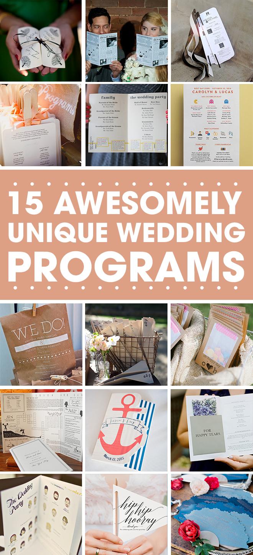 15 Unique Wedding Program Ideas