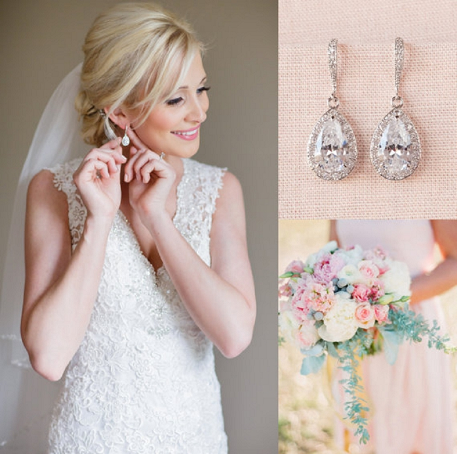 We love this classic bridal look of crystal earrings!