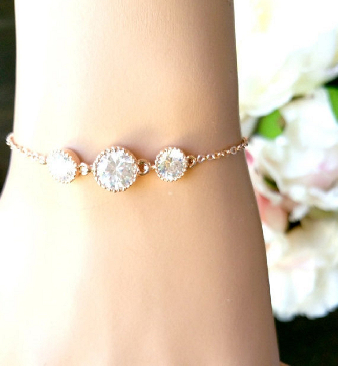 We love this delicate wedding day bracelet for layering!