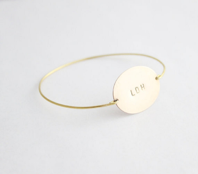 We love this super modern monogrammed bracelet perfect for your big day!