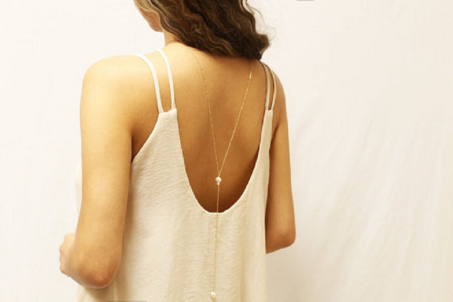 This stunning and delicate pearl back necklace is one of our favorites!