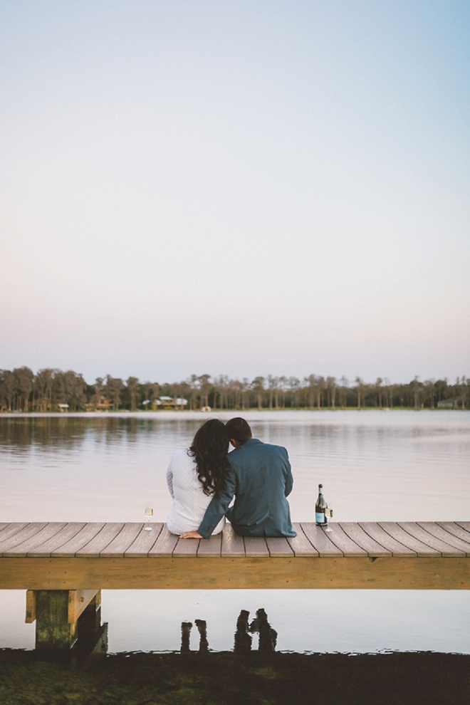 How adorable is this champagne by the lake engagement snap? LOVE!