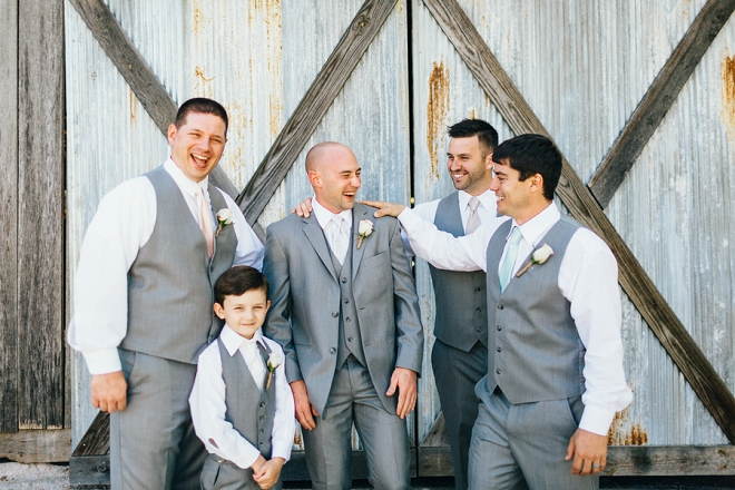 The handsome Groom and his Groomsmen before the gorgeous rustic ceremony!