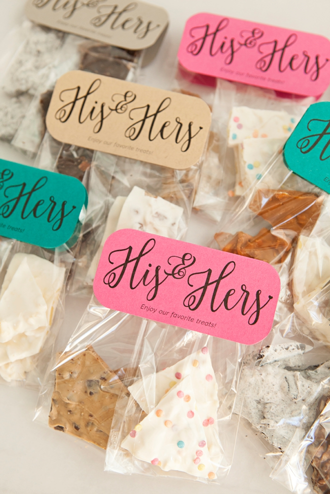 Learn how to make the most darling His and Hers treat favors for your wedding!