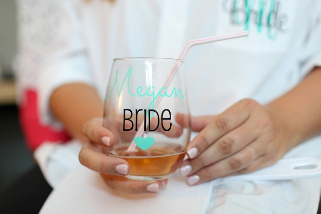 How darling is this Bride's getting ready glass?! We're loving it!